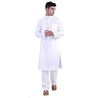 Designer Cotton kurta for men- White