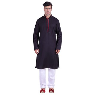 Designer Cotton kurta for men- Black