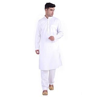 Designer White Cotton kurta for men