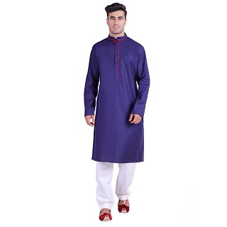 Designer Cotton kurta for men- Blue
