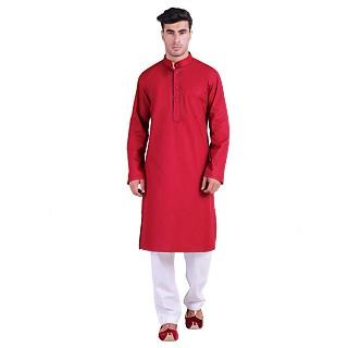 Latest Design cotton kurta for men- Red