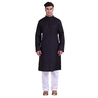 Black Designer cotton kurta for men