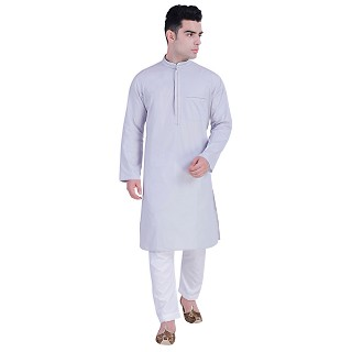 Designer Cotton Long kurta - Light Grey