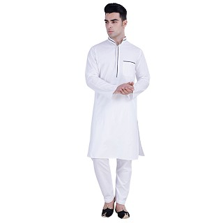 White Designer Cotton kurta for men