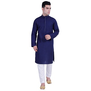 Designer Cotton kurta for men- Navy Blue