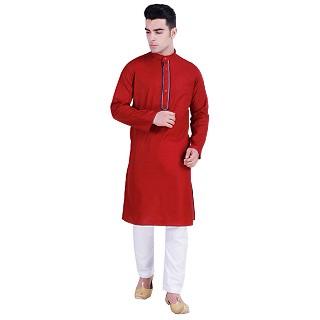 Red Designer Cotton kurta for men