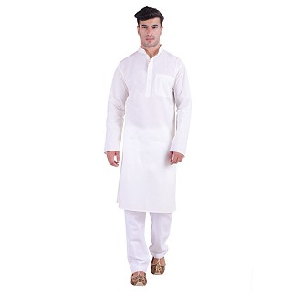Cotton lawn Kurta for men- White
