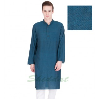 Long Kurta- Cotton dobby fabric in blue dianne
