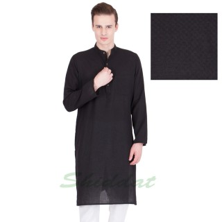 Long Kurta- Cotton dobby fabric in thunder black