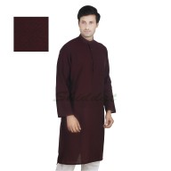 Cocoa colored long Kurta - Cotton dobby fabric