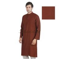 Long kurta - Coffee colored in cotton dobby fabric