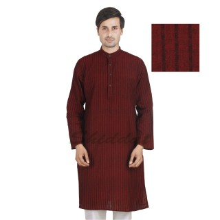 Chocolate colored long Kurta - Cotton dobby fabric