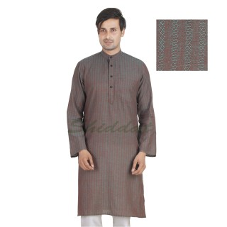 Flint colored long Kurta - Cotton dobby fabric