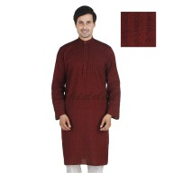 Brick Red colored long Kurta - Cotton dobby fabric
