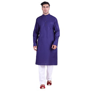 Cotton lawn Kurta for men- Blue