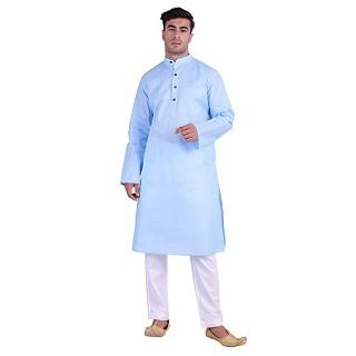 Cotton lawn Kurta for men- Sky Blue
