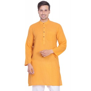 Mens Kurta in yellow orange color- Cotton fabric
