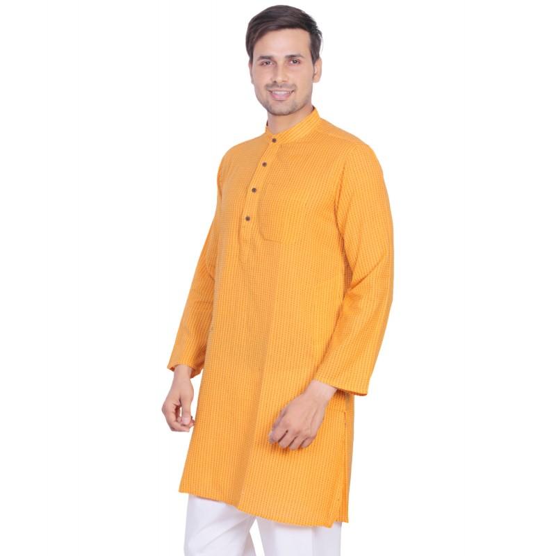 bc1f20ec38 Men's Kurta online in India- Cotton fabric in yellow orange color ...