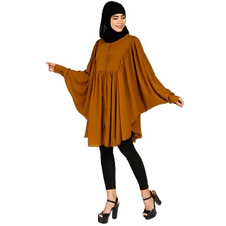 Full sleeves short kaftan- Mustard brown