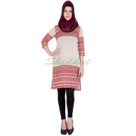 Womens kurta - Khadi with Red graphics print
