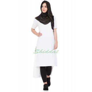 Long Kurti -  White colored in hosiery fabric