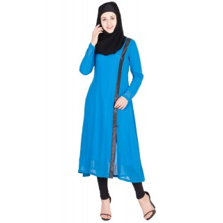 Long Kurta - Blue colored in Georgette fabric