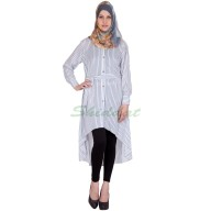 High-low womens kurta- White colored with Blue stripes