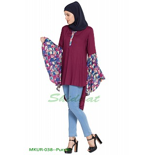 Kurti with Bell sleeves- Purple