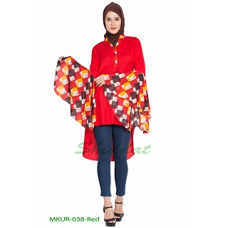 Kurti with bell sleeves- Red