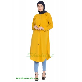 Front open Kurti- Mustard color