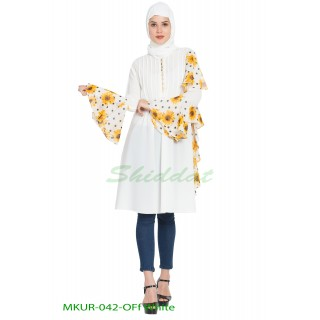 Frilled Kurti with floral print- Off White