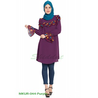 Contrast Ruffles and Bell Sleeves Kurti - Purple