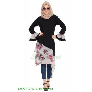 Designer Kurti with contrast bottom| Black-Beige