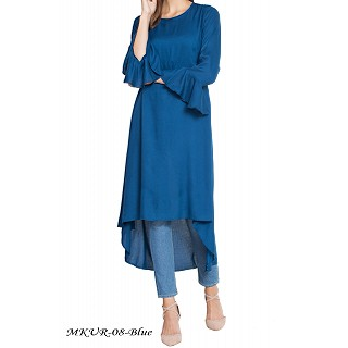 Designer Kurti with bell sleeves- Blue