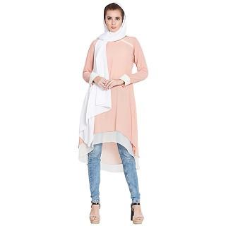 Double layered Kurti- Pink-Off White