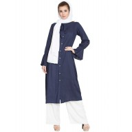 Long Kurti with bell sleeves- Blue