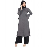 Long Kurti with bell sleeves- Grey