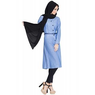 Long tunic with a belt- Blue