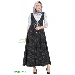 Traditional party wear dress - Black & White Cotton