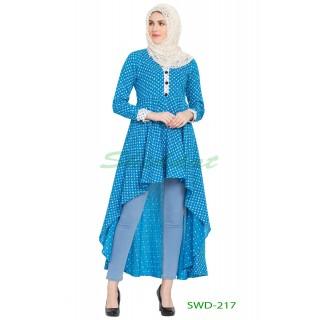 Asymmetrical Dress - Firozy & White printed Cotton