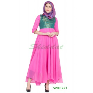 Anarkali dress - Pink with green brocade printed
