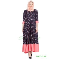 Anarkali dress - Navy Blue With Pink dots