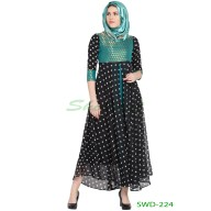 Anarkali dress - Black Dotted with Green brocade print