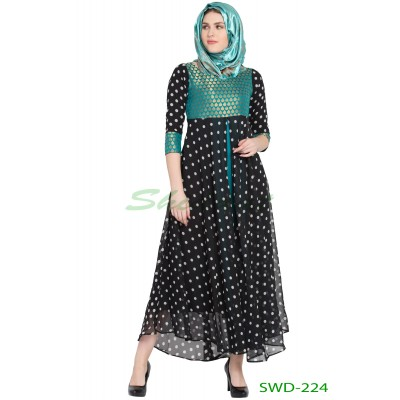Anarkali dress - Black Dotted with Green Brocked Yoke