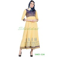 Anarkali dress -Yellow With Blue Brocade print