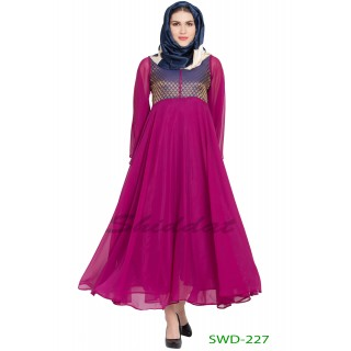 Anarkali dress - Purple With Blue Brocade Print