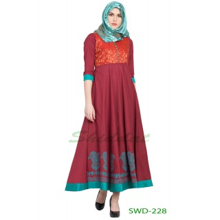 Ethnic dress - Maroon with green brocade print fabric