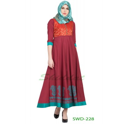 Ethnic dress - Maroon with green blocked printed