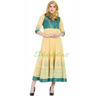 Anarkali dress - Yellow with Firozi brocked