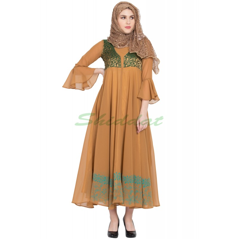 3ec02aa34e Women's Dress online in India- Mustard Yellow With Firozi Brocade